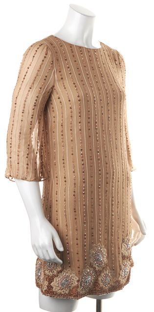 ALICE + OLIVIA Beige Bead Embellished Floral Embroidered Silk Shift Dress