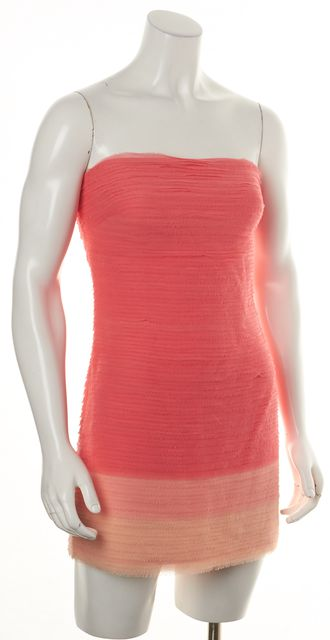 ALICE + OLIVIA Pink Ombre Silk Strapless Above Knee Sheath Dress