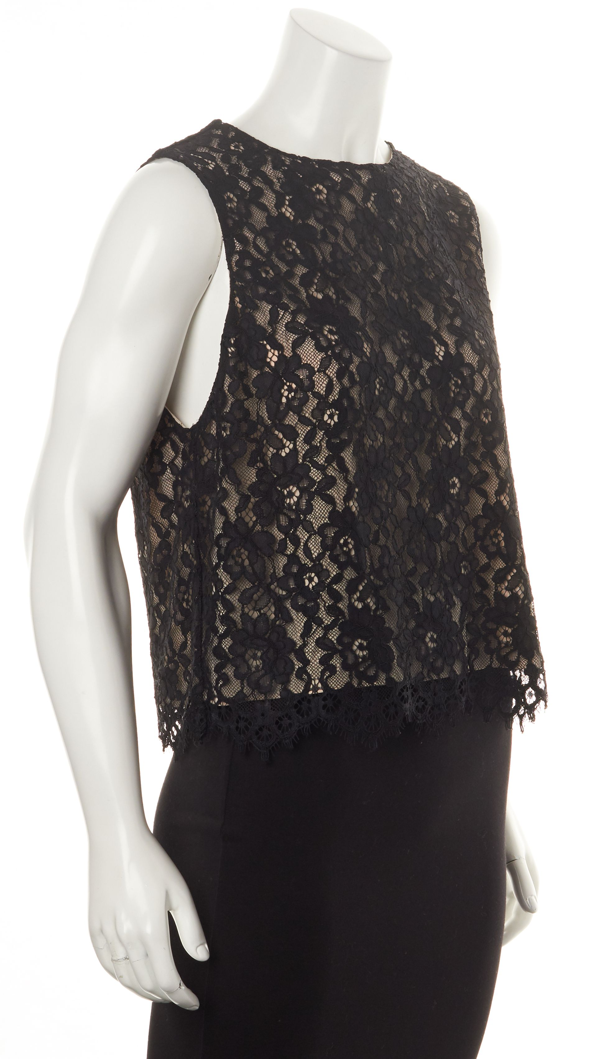 Alice   Olivia Black Beige Lace Overlay Sleeveless Blouse Top ...