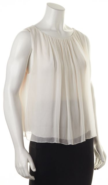 ALICE + OLIVIA White Silk Ruffle Pleat Sleeveless Blouse Top