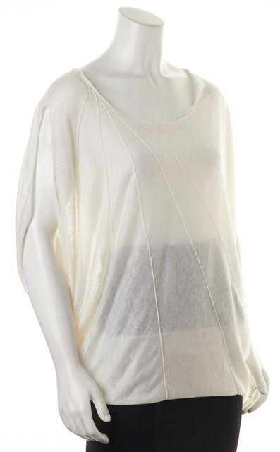 ALICE + OLIVIA White Linen Sheer Knit Relaxed Fit Sleeveless Top