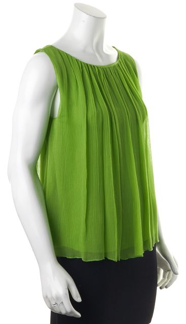 ALICE + OLIVIA Green Sleeveless Relaxed Fit Silk Blouse Top