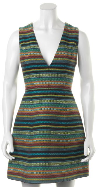 ALICE + OLIVIA Blue Multi Abstract Striped V-Neck Fit & Flare Dress