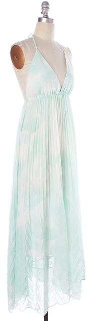 ALICE + OLIVIA Sea Green White Watercolor Halter Sundress
