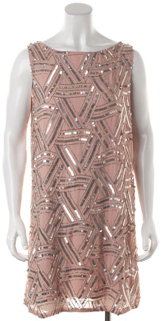 ALICE + OLIVIA Ballerina Pink Silver Sequin Silk Shift Dress