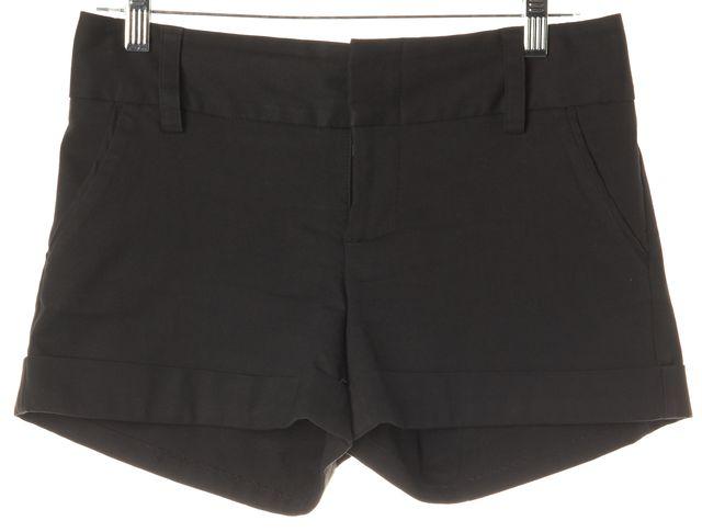 ALICE + OLIVIA Black Stretch Cotton Cuffed Mini Short Shorts