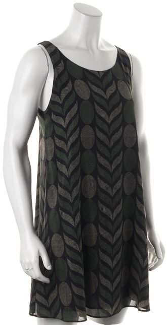 ALICE + OLIVIA Black Green Geometric Silk Cutout Back Shift Dress