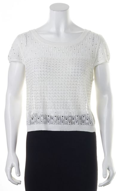 ALICE + OLIVIA White Linen Open Knit Bead Embellished Cropped Top Top