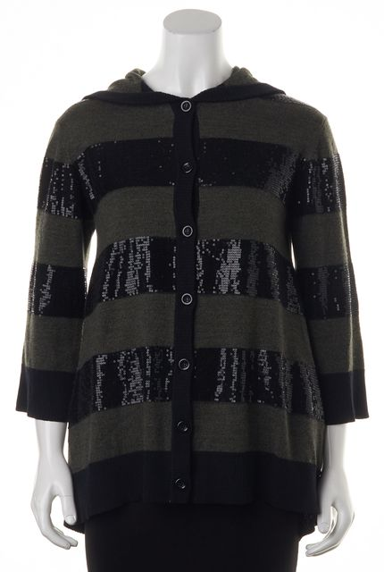 ALICE + OLIVIA Black Gray Sequin Wool Buttoned Down Hooded Sweater