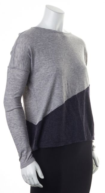 ALICE + OLIVIA Gray Blue Color Block Wide Crewneck Sweater