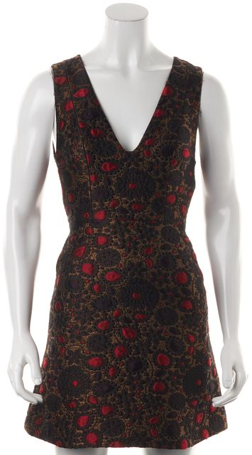 ALICE + OLIVIA Gold Red Floral V-Neck Fit & Flare Dress