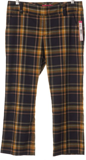 ALICE + OLIVIA Navy Blue Gold Plaid Cropped Dress Pants