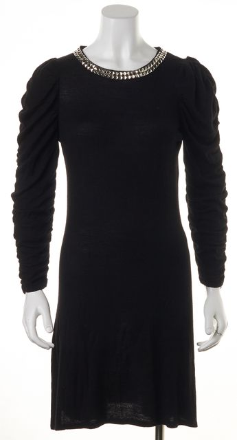 ALICE + OLIVIA Black Studded Collar Sweater Dress