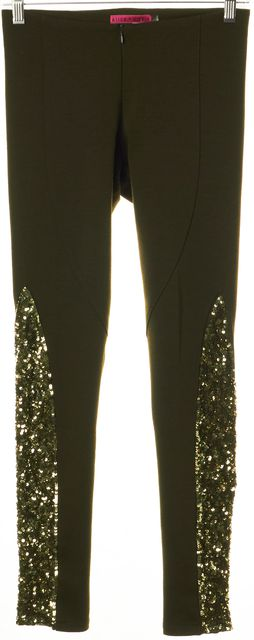 ALICE + OLIVIA Green Jersey Sequin Embellished Panels Leggings