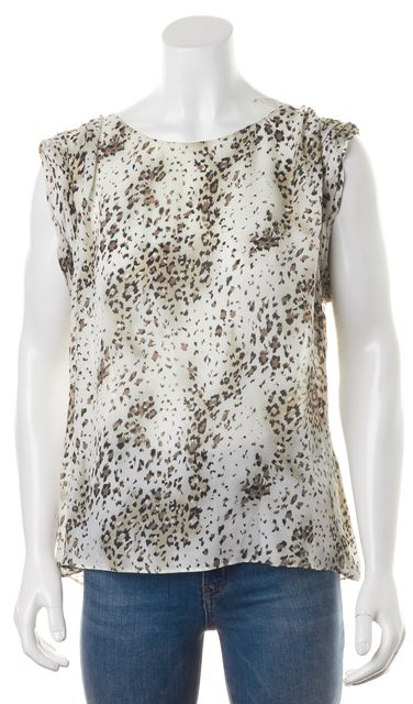ALICE + OLIVIA Brown Beige Cheetah Print Silk Sleeveless Blouse Top