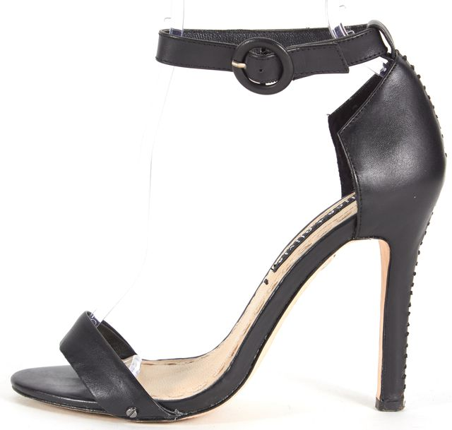 ALICE + OLIVIA Black Leather Stitch Ankle Strap Sandal Heels