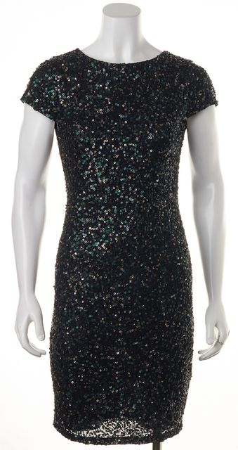 ALICE + OLIVIA Black Green Sequin Sheath Dress
