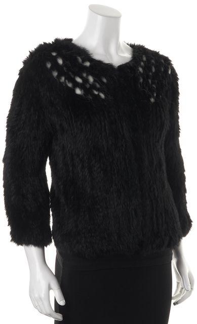 ALICE + OLIVIA Black Rabbit Fur Jacket