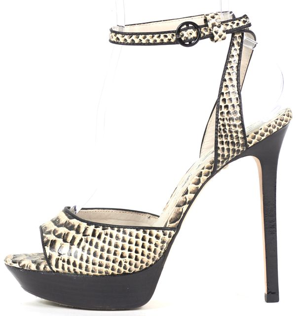 ALICE + OLIVIA Black Ivory Snake Embossed Leather Platform Sandals