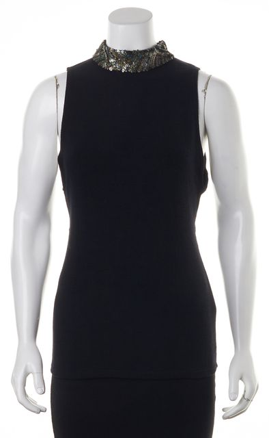 ALICE + OLIVIA Black Stretch Knit Sequin Mock Neck Top