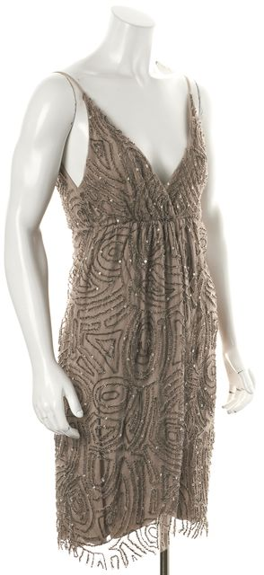 ALICE + OLIVIA Beige Embellished Dress