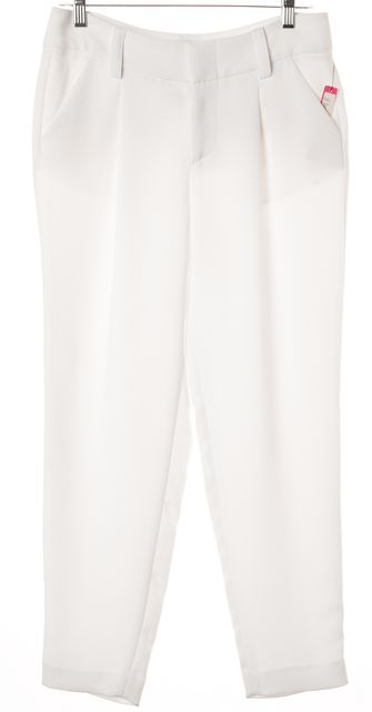 ALICE + OLIVIA White Pleated High Rise Trousers Pants