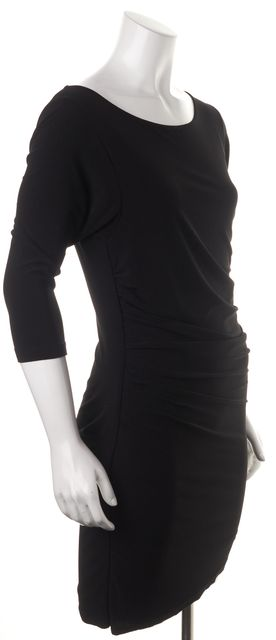 ALICE + OLIVIA Black Ruched 3/4 Sleeve Open Back Bodycon Dress