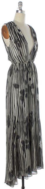 ALICE + OLIVIA Black White Abstract Silk Deep V-Neck Cutout Back Maxi Dress