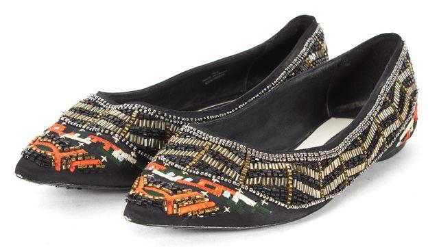 ALICE + OLIVIA Black Orange Green Embroidered Bead Embellished Satin Flats
