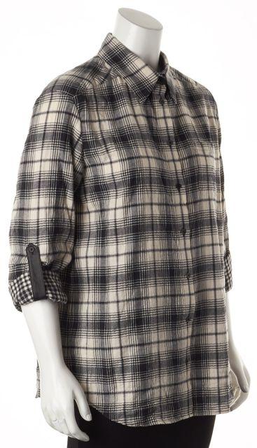 ALICE + OLIVIA Black Ivory Plaid Leather Trim Button Down Shirt
