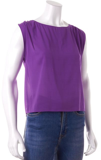 ALICE + OLIVIA Purple Sleeveless Semi Sheer Silk Blouse Top