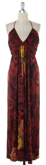 ALICE + OLIVIA Dark Red Gold Floral Empire Waist Satin Silk Maxi Dress