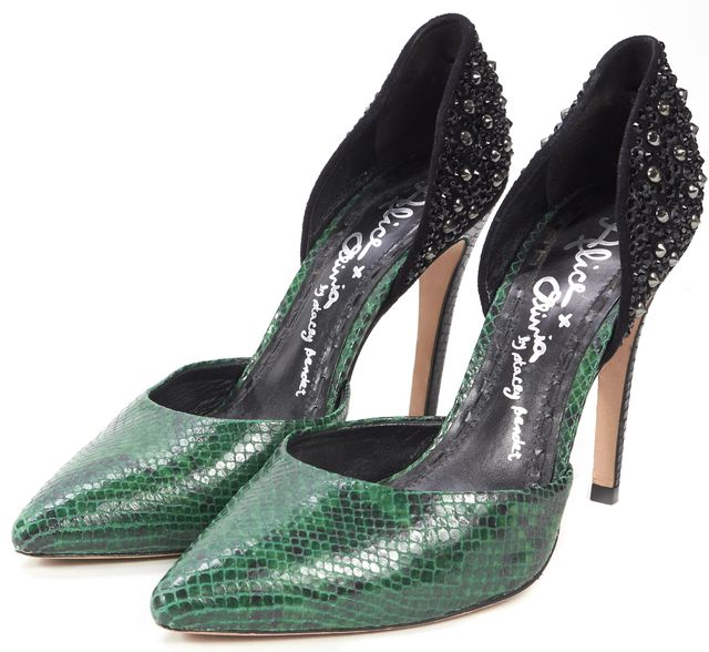 ALICE + OLIVIA Green Snake Embossed Embellished Leather D'Orsay Heels