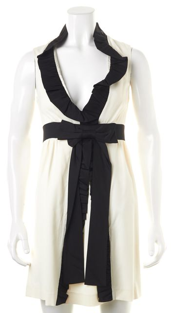 ALICE + OLIVIA Ivory Black Sleeveless Ruffled Empire Waist Dress
