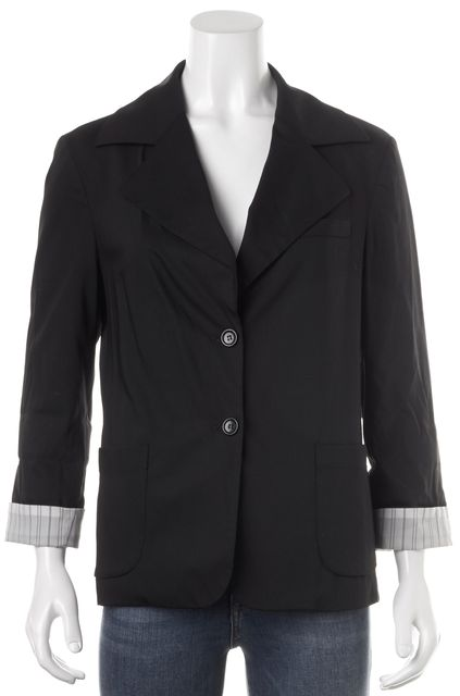 ALICE + OLIVIA Black Wool Double Button Pocket Front Blazer
