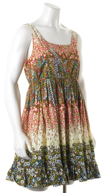 ALICE + OLIVIA Green Red Floral Sleeveless Cotton Sundress