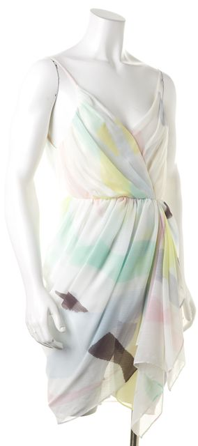 ALICE + OLIVIA Pink Green Abstract Spaghetti Strap Blouson Dress