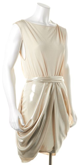 ALICE + OLIVIA Beige Gold Lame Sleeveless Blouson Dress