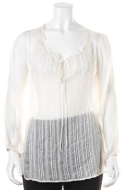 ALICE + OLIVIA White Floral Embroidered Mesh Sheer Blouse Top