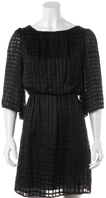 ALICE + OLIVIA Black Geometric Silk Satin Sheer Sleeves Blouson Dress