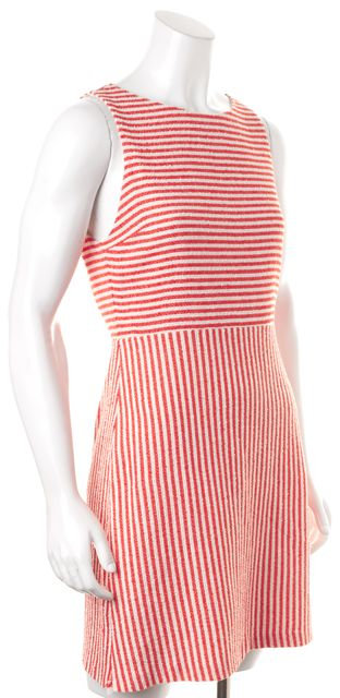 ALICE + OLIVIA Orange White Striped Sleeveless Textured Sheath Dress