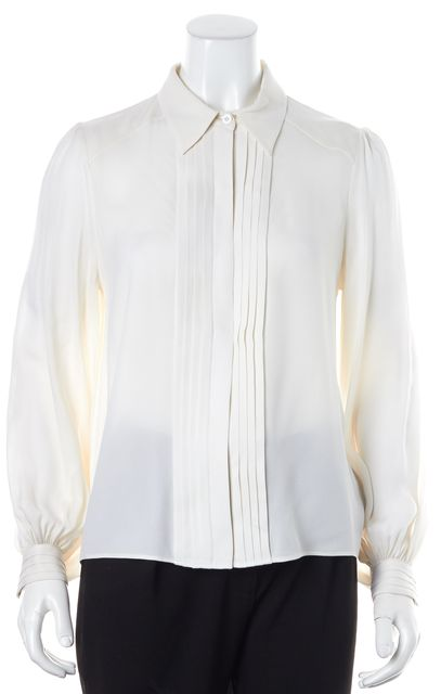 ALICE + OLIVIA Ivory Silk Button Down Shirt Top