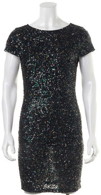 ALICE + OLIVIA Black Green Sliver Sequin Cap Sleeve Sheath Dress