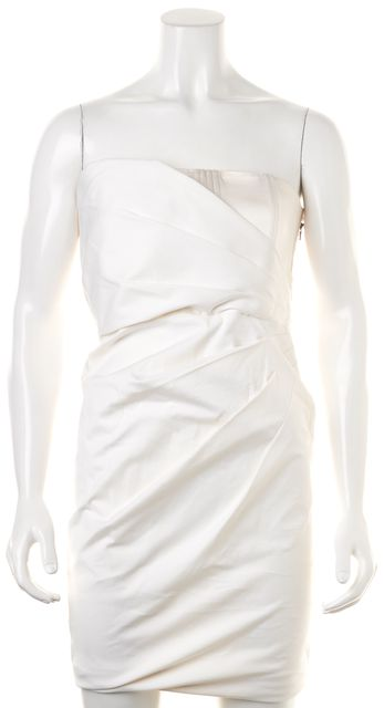 ALICE + OLIVIA Ivory Strapless Above Knee Mini Ruched Corset Dress