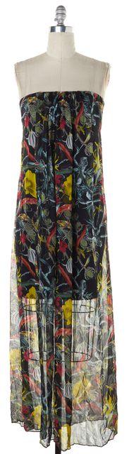 ALICE + OLIVIA Black Yellow Red Floral Crepe Silk Semi Sheer Maxi Dress