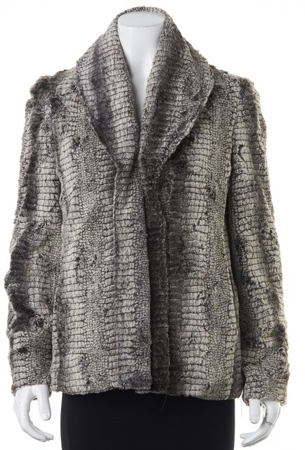 ALICE + OLIVIA Brown Faux Fur Basic Open Drape Jacket Coat