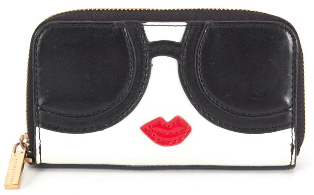 ALICE + OLIVIA Black White Red Leather Staceyface Keychain Coin Wallet