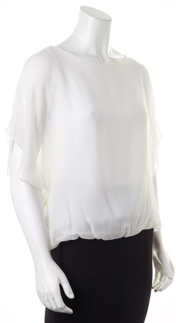 ALICE + OLIVIA White Silk Semi Sheer Blouse Top