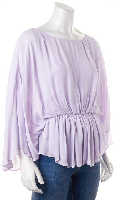 ALICE + OLIVIA Lilac Purple Batwing Pleated Blouson Top