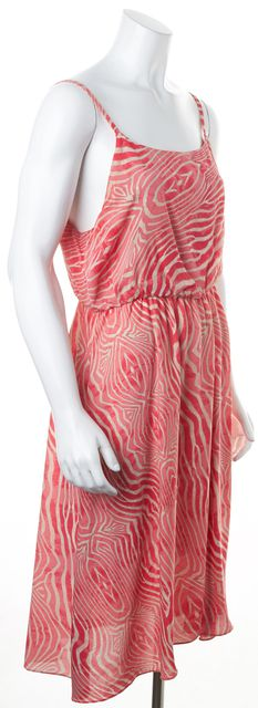 ALICE + OLIVIA Pink Beige Abstract Spaghetti Strap Silk Fit & Flare Dress